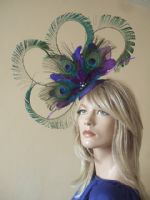 Purple Teal Blue Green Peacock Feathers Fascinator Headpiece Hat. Peacock Mother of the Bride Hat. Purple Fascinator. Peacock Fascinator. Hats for a Day at the Races. Peacock Royal Ascot Hats.